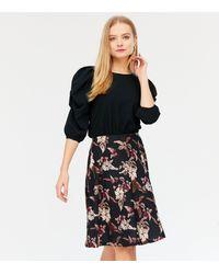 Missfiga Black Floral Puff Sleeve Skater Dress - Brown