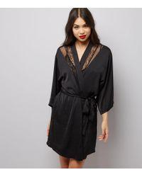 New Look Black Satin Lace Trim Robe