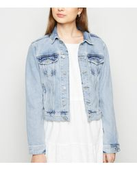 New Look Petite Pale Blue Bleach Wash Denim Jacket