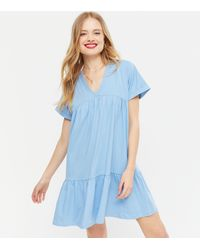 New Look - Blue V Neck Tiered Smock Dress - Lyst