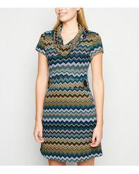 Apricot Green Chevron Stripe Bodycon Dress