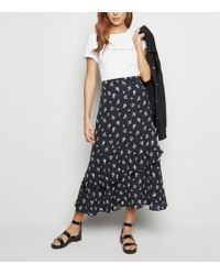 c55526b6e New Look Blue Ditsy Floral Print Split Front Maxi Skirt in Blue - Lyst