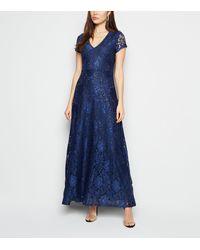 Mela Navy Sequin Maxi Dress - Blue