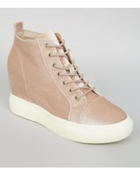 New Look Nude Pink Velvet Wedge Trainers - Natural