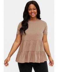 New Look Curves Mink Tiered Peplum T-shirt - Brown