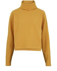 New Look Mustard Ribbed Knit Roll Neck Boxy Jumper - Yellow