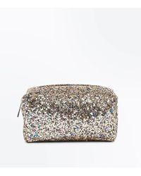 New Look Gold Glitter Zip Top Make Up Bag - Metallic