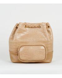 New Look Camel Faux Croc Drawstring Duffle Bag - Natural