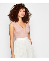 New Look Pale Pink Lace Plunge Bodysuit