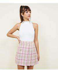 New Look Pink Tartan Check Pleated Skirt