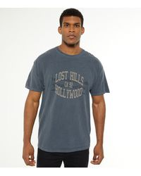 New Look Blue Overdyed Lost Hills Hollywood Logo T-shirt