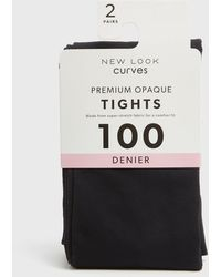 New Look Curves 2 Pack Black Premium Opaque 100 Denier Tights