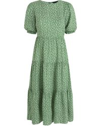 New Look Green Ditsy Floral Puff Sleeve Midi Dress