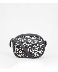 New Look Black Leather Leopard Print Camera Bag