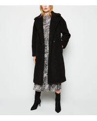 New Look Black Teddy Maxi Coat