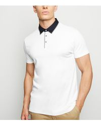 New Look White Contrast Collar Polo Shirt