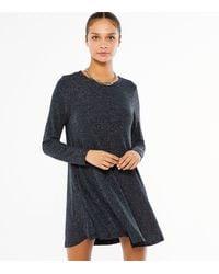 Mela Navy Glitter Long Sleeve Dress - Blue
