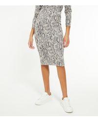 New Look - Light Grey Fine Knit Snake Print Midi Skirt - Lyst
