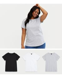 New Look - Curves 3 Pack Grey Black And White Crew Neck T-shirts - Lyst