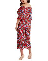 Mela Curves Red Floral Bardot Jumpsuit New Look