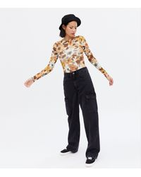 New Look Mustard Floral Long Sleeve Bodysuit - Multicolour
