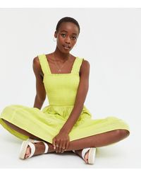 New Look Tall Pale Yellow Square Neck Tiered Midi Dress