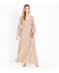 Mela - Pale Pink Floral Flared Sleeve Maxi Dress - Lyst