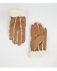 New Look Tan Suedette Faux Shearling Gloves - Brown