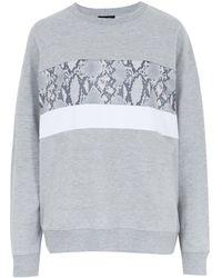 New Look - Grey Snake Print Stripe Sweatshirt - Lyst
