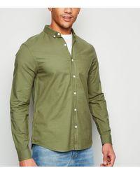 New Look Khaki Cotton Long Sleeve Shirt - Green