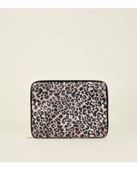 "New Look Multicoloured 15"" Leopard Print Laptop Case"