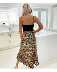 AX Paris Black Floral Midi Wrap Skirt New Look