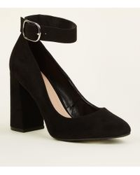 New Look - Wide Fit Black Flare Heel Ankle Strap Courts - Lyst