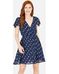 Mela Blue Ditsy Floral Wrap Skater Dress