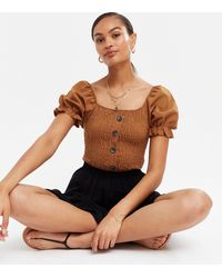 Missfiga Rust Shirred Button Front Puff Sleeve Top - Brown