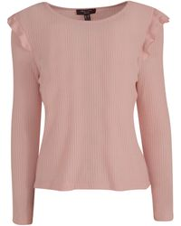New Look - Petite Pale Pink Fine Knit Frill Trim Top - Lyst