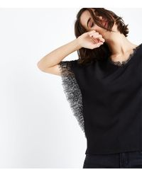 Mela Lace Trim V Neck Blouse New Look - Black