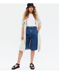 New Look Blue Denim Knee Length Culotte Shorts