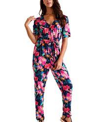 Mela Black Tropical Floral Jumpsuit