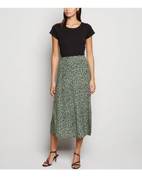 New Look Green Spot Side Split Midi Skirt