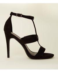 New Look - Black Suedette Stiletto Heel Gladiator Sandals - Lyst