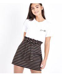 New Look   Petite Black Stripe Paperbag Waist Skirt   Lyst