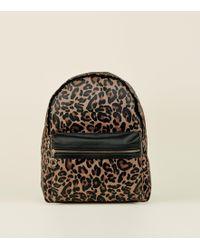 New Look - Brown Leopard Print Backpack - Lyst