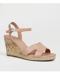 9288e7280490 New Look Wide Fit Nude Cleated Wedge Sandals in Natural - Lyst