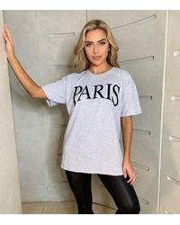 AX Paris Pale Grey Paris Logo Oversized T-shirt