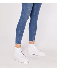 New Look White Canvas Chunky High Top Trainer Boots
