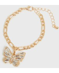 New Look Gold Diamanté Butterfly Chain Bracelet - Metallic