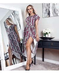 Missfiga Multicoloured Snake Print Wrap Midi Dress