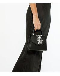 New Look Black Leather-look Gem Cross Body Bag