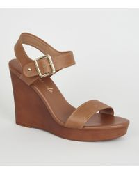 New Look - Tan Leather-look 2 Part Wood Wedges - Lyst